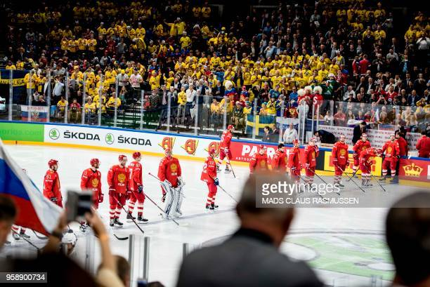 Russia's players before the group A match Russia v Sweden of the 2018 IIHF Ice Hockey World Championship at the Royal Arena in Copenhagen Denmark on...