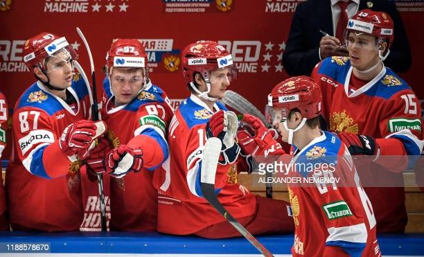 Russia's players celebrate a goal during the Channel One Cup of the Euro Hockey Tour ice hockey match between Russia and Czech Republic at CSKA Arena...