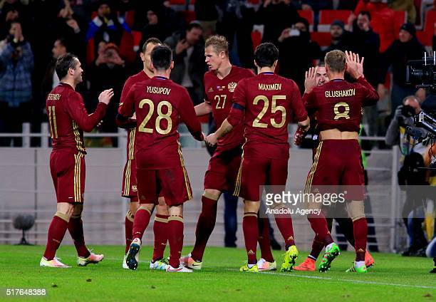 Russia's players celebrate scoring during the friendly football match between Russia and Lithuania in Otkrite Arena in Moscow Russia on March 26 2016