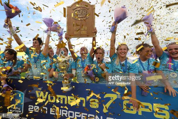 Russia's players celebrates winning the women's Rugby Sevens Grand Prix Series in Kazan on July 9 2017 / AFP PHOTO / Ilnar Tukhbatov