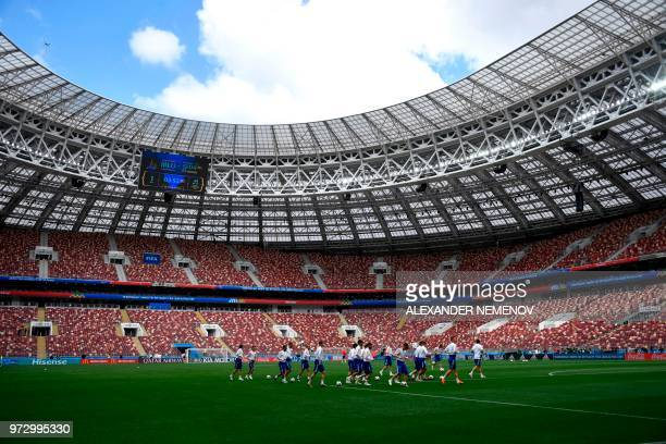Russia's players take part in a training session at the Luzhniki Stadium in Moscow on June 13 2018 ahead of the Russia 2018 World Cup opening...