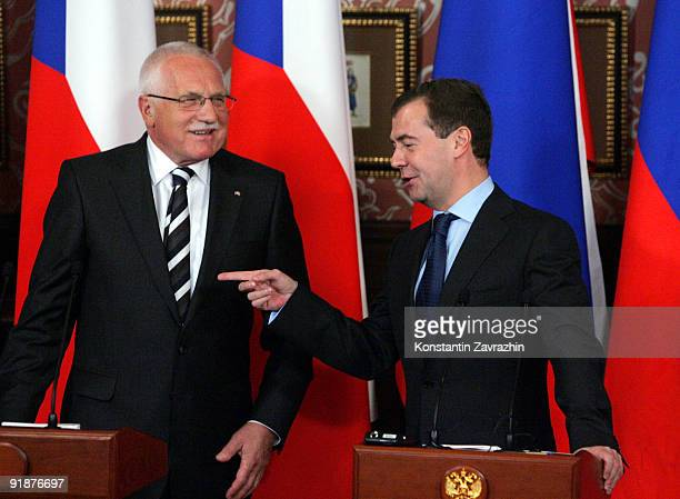 Russia's President Dmitry Medvedev and Czech President Vaclav Klaus attend a news conference at the presidential residence October 14 2009 in...