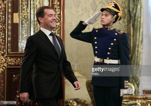 Russia's President Dmitry Medvedev arrives for a meeting with Dutch Prime Minister Mark Rutte in the Moscow 's Kremlin, on October 20, 2011. Rutte is...