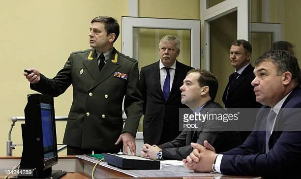 Russia's President Dmitry Medvedev visits Voronezh-DM a radar warning system station was in the Russian exclave of Kaliningrad, on November 29, 2011....
