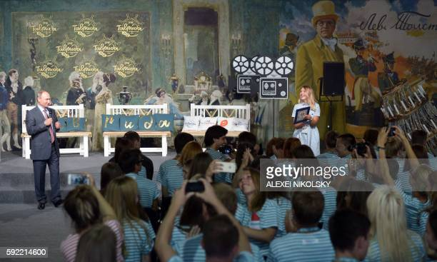 Russia's President Vladimir Putin addresses the participants of the youth educational forum 'Tavrida' in Crimea on August 19 2016