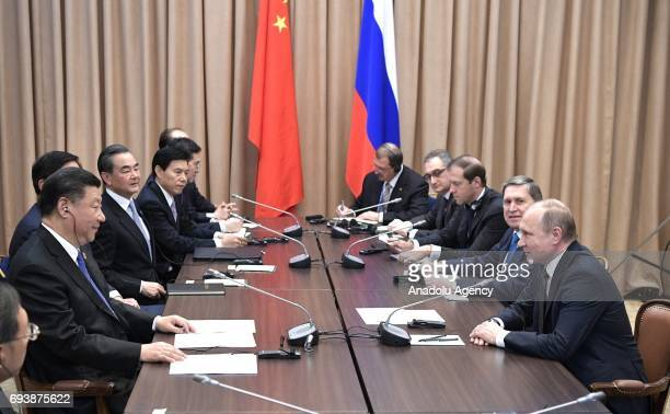 Russia's President Vladimir Putin and China's President Xi Jinping meet for talks ahead of the meeting of Shanghai Cooperation Organisation Council...