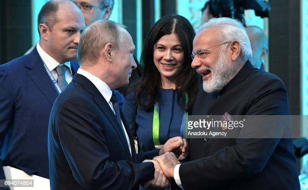 Russia's President Vladimir Putin and India's Prime Minister Narendra Modi are seen ahead of a meeting of the Shanghai Cooperation Organisation Heads...