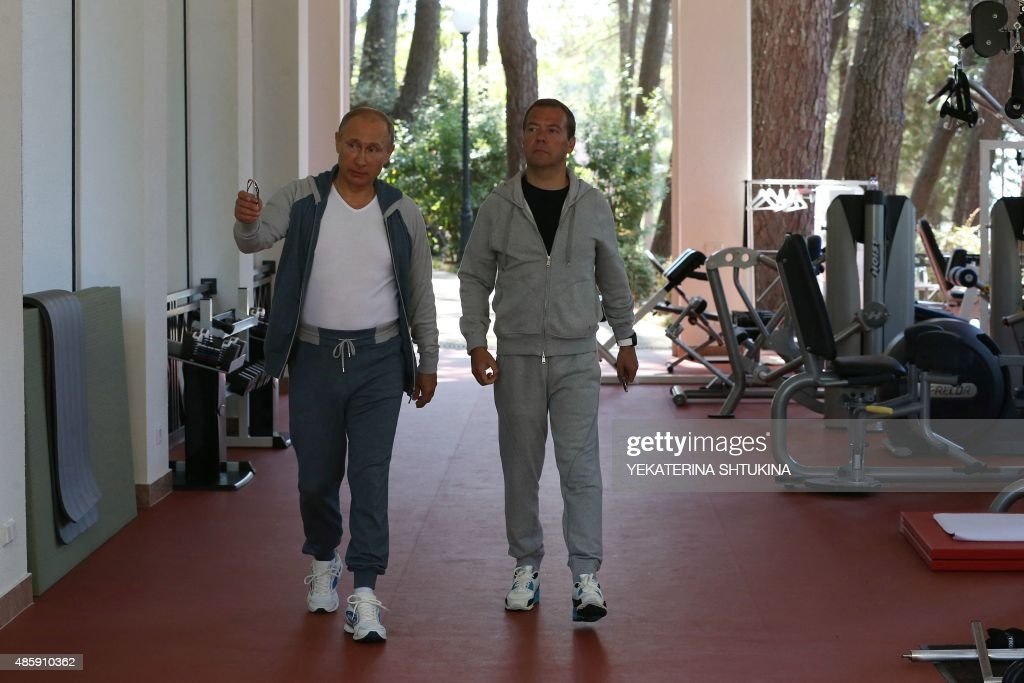 RUSSIA-PUTIN-MEDVEDEV-GYM : News Photo