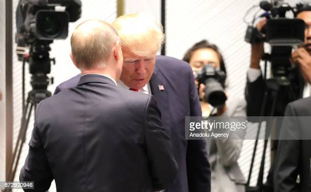 Russia's President Vladimir Putin and US President Donald Trump are seen during a meeting of world leaders on the closing day of the 25th APEC Summit...