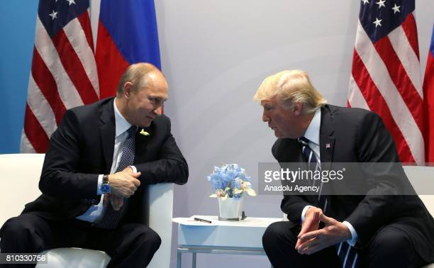 Russia's President Vladimir Putin and US President Donald Trump hold a bilateral meeting on the sidelines of the G20 summit in Hamburg Germany on...