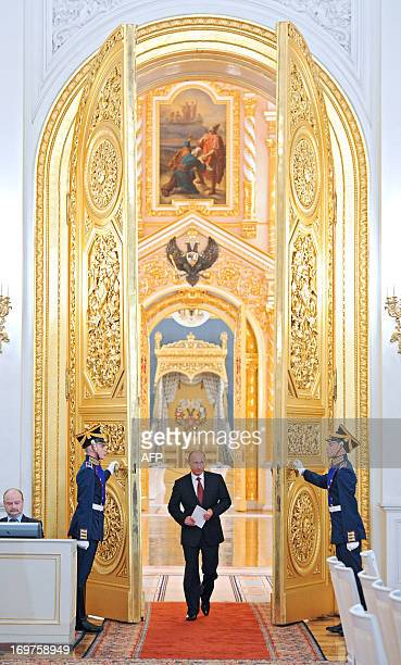 Russia's President Vladimir Putin arrives for a State Council meeting in the Grand Kremlin Palace in Moscow, on May 31, 2013. AFP PHOTO/ RIA-NOVOSTI...