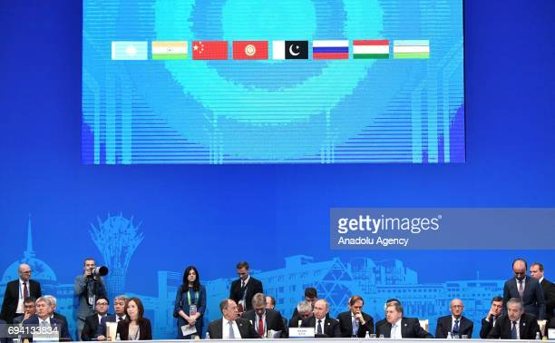 Russia's President Vladimir Putin attends a meeting of the Shanghai Cooperation Organisation Heads of State Council in Astana Kazakhstan on June 9...