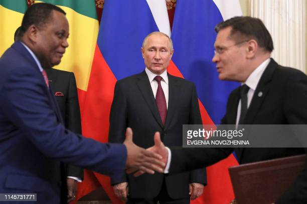 Russia's President Vladimir Putin attends a signing ceremony following the talks with the Congolese President Denis Sassou Nguesso at the Kremlin in...