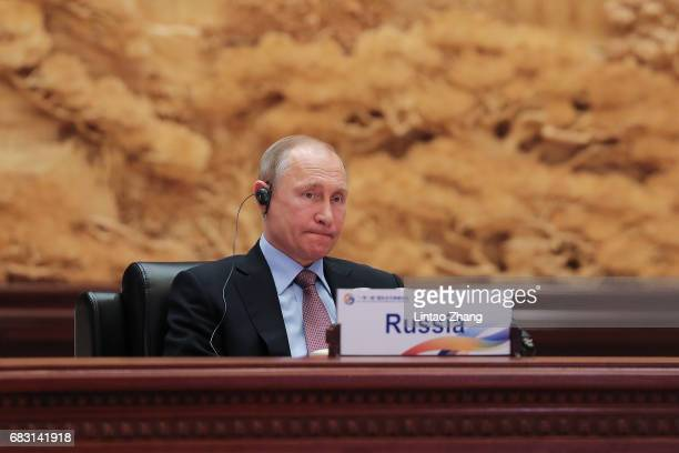 Russia's President Vladimir Putin attends the Roundtable Summit Phase One Sessions of Belt and Road Forum at the International Conference Center in...