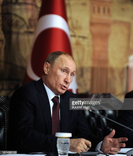 Russia's president Vladimir Putin gives a press conference after a meeting with Turkish Prime minister in Istanbul on December 3 as part of Putin's...