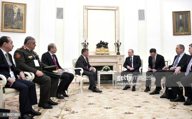 Russia's President Vladimir Putin meets with King Abdullah II of Jordan at Moscow's Kremlin in Moscow Russia on February 15 2018