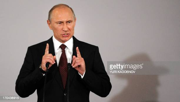 Russia's President Vladimir Putin speaks at a ceremony marking the handover of the Schneerson library at the Jewish Museum and Tolerance Centre in...