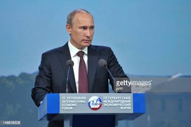 Russia's President Vladimir Putin speaks at the annual Economic Forum in SaintPetersburg on June 21 2012 AFP PHOTO / RIANOVOSTI / POOL/ ALEXEI...