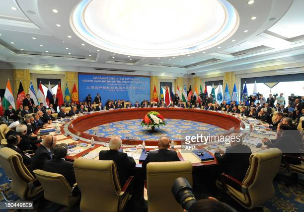 Russia's President Vladimir Putin together with the leaders of the nations members of the Shanghai Cooperation Organization and the top officials...