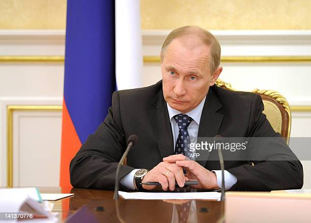 Russia's Prime Minister and President-elect Vladimir Putin chairs a Cabinet meeting at the government headquarters in Moscow, on March 15, 2012. AFP...