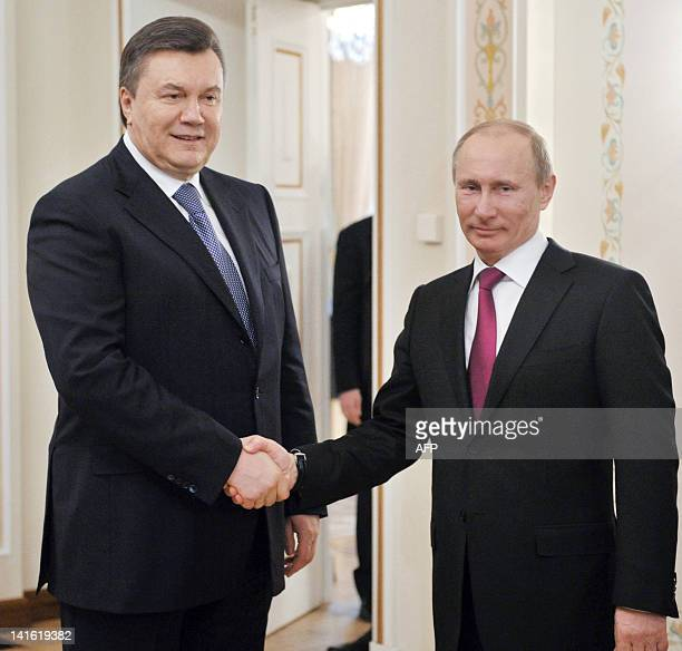 Russia's Prime Minister and Presidentelect Vladimir Putin meets Ukraine's President Viktor Yanukovych in Putin's NovoOgaryovo residence outside...