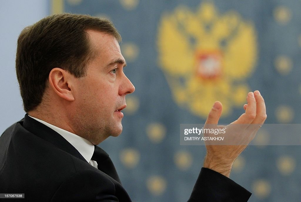 Russia's Prime Minister Dmitry Medvedev attends a meeting in his Gorki residence outside Moscow, on November 28, 2012.