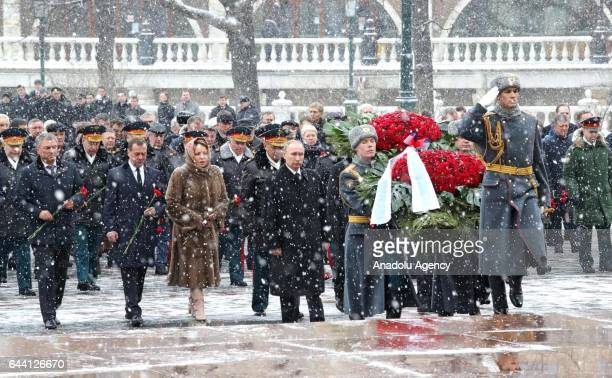 Russia's Prime Minister Dmitry Medvedev , Russian Federation Council Chairperson Valentina Matviyenko , Russia's President Vladimir Putin and...