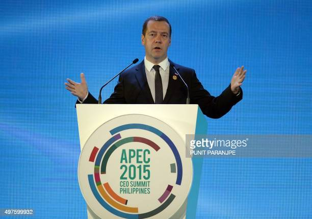 Russia's Prime Minister Dmitry Medvedev speaks during the Asia-Pacific Economic Cooperation 2015 CEO Summit in Manila on November 18, 2015....