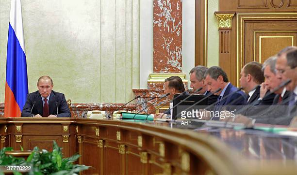 Russia's Prime Minister Vladimir Putin chairs a Cabinet meeting in the government headquarters in Moscow on January 26 2012 AFP PHOTO/ RIANOVOSTI/...