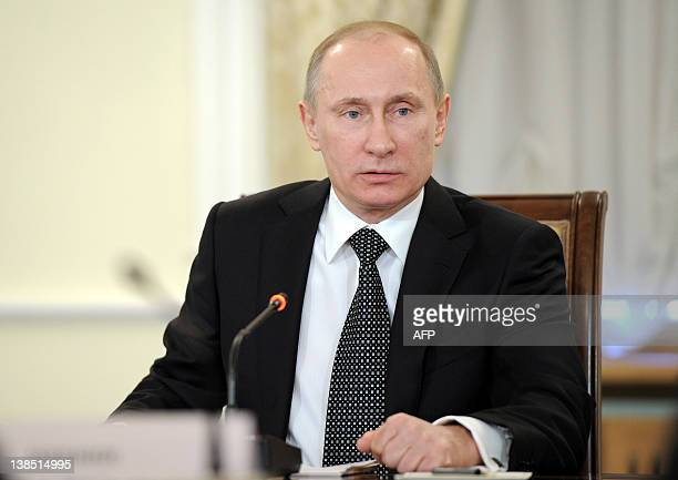 Russia's Prime Minister Vladimir Putin speaks at a meeting with religious leaders in the Danilov Monastery in Moscow on February 8 2012 Putin warned...