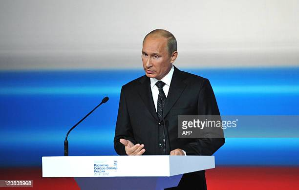 Russia's Prime Minister Vladimir Putin speaks at the 'United Russia' ruling party regional conference in Cherepovets about 400 km north of Moscow on...