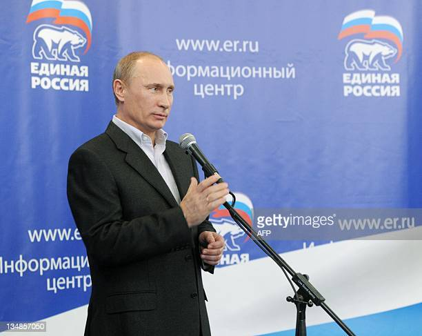 Russia's Prime Minister Vladimir Putin speaks to supporters in the United Russia ruling party's campaign staff in Moscow on December 4 2011 Putin's...