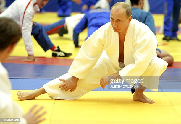 Russia's Prime Minister Vladimir Putin takes part in a judo training session at the 'Moscow' sports complex in St Petersburg on December 22 2010 AFP...