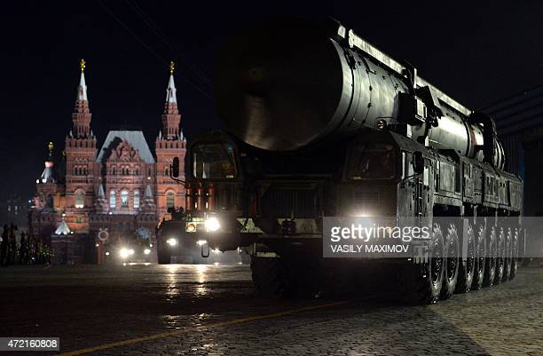 Russia's RS-24 Yars thermonuclear intercontinental ballistic missile launcher rides through Red Square in Moscow during the Victory Day military...