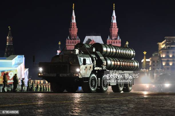 Russia's Russian S400 Triumph air defence missile system rides through Red Square in Moscow during the Victory Day military parade night training on...
