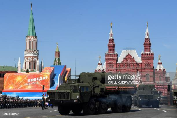 Russia's S400 Triumph air defence missile systems ride through Red Square during the Victory Day military parade in Moscow on May 9 2018 Russia marks...
