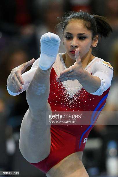 Russias Seda Tutkhalian performs during the Womens Floor competition of the European Artistic Gymnastics Championships 2016 in Bern Switzerland on...