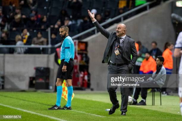 Russia's Stanislav Cherchesov during the UEFA Nations League B group two match between Sweden and Russia at Friends Arena on November 20 2018 in...