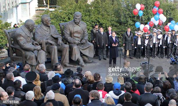 Russia's State Duma speaker Sergei Naryshkin attends the opening ceremony for a monument featuring former British prime minister Winston Churchill...