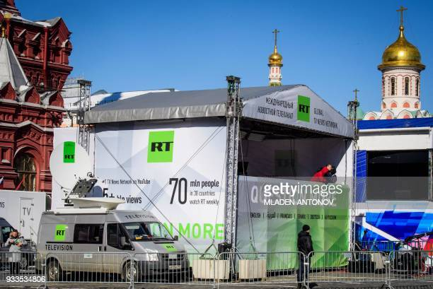 Russia's statecontrolled Russia Today television broadcast tent is seen on Red Square in Moscow on March 18 2018 Russia votes for President today /...