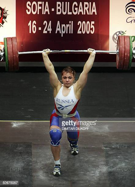 Russia's Svetlana Podobedova lifts for the gold medal in the women's 75 kilo category during the European Weightlifting Championships in Sofia 21...