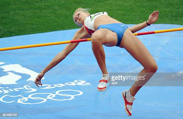 Russia's Svetlana Shkolina competes during the women's High Jump qualifyers at the National stadium as part of the 2008 Beijing Olympic Games on...
