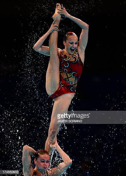 Russia's synchronised swimming team compete in the free combination final during the synchronised swimming competition in the FINA World...