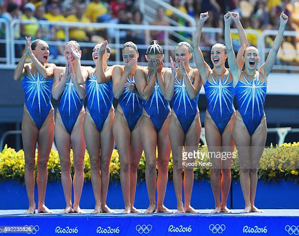 Russia's synchronized swimming team celebrates after competing in the free routine final at the Rio de Janeiro Olympics on Aug 19 2016 Russia won the...