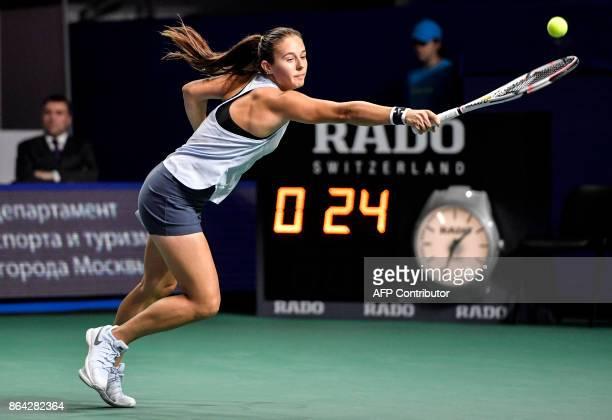 Russia's tennis player Daria Kasatkina returns the ball to German tennis player Julia Goerges during the Kremlin Cup tennis tournament women's final...