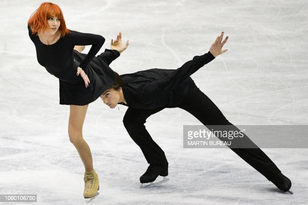 TOPSHOT Russia's Tiffani Zagorski and Jonathan Guerreiro perform during the ice dance free dance event at the figure skating NHK Trophy in Hiroshima...