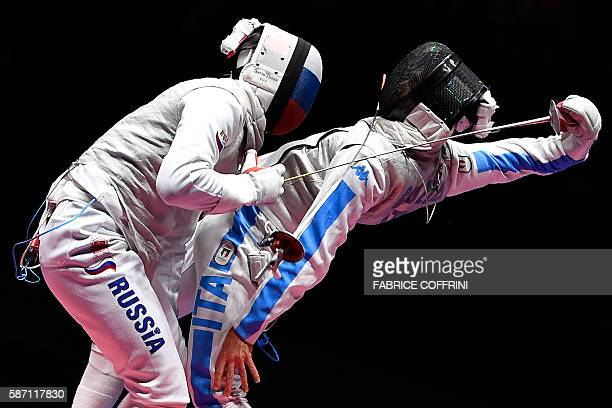 Russia's Timur Safin competes against Italy's Daniele Garozzo during their mens individual foil semi-final bout as part of the fencing event of the...