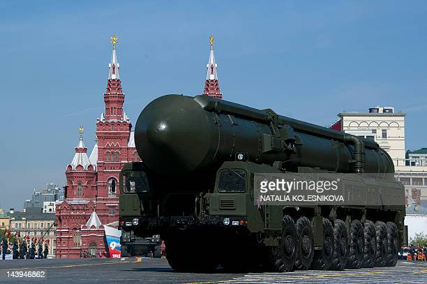 Russia's Topol intercontinental ballistic missile launcher attends a final rehersal of the Victory Day Parade on Red Square in Moscow on May 6 2012...