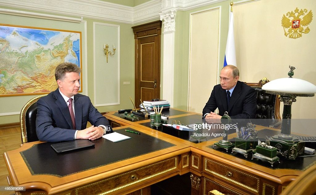 Russia's Transport Minister Maxim Sokolov (L) and Russia's President Vladimir Putin (R) meet at Novo-Ogaryovo residence in Moscow, Russia on November 02, 2015. Maxim Sokolov heads a government commission on investigation into the A321 airbus crash in Egypt. Russian MetroJet Airbus A321 of Kogalymavia en route from Sharm-el-Sheikh to St. Petersburg crashed in the Sinai, Egypt on 31 October 2015, killing all 224 people on board.
