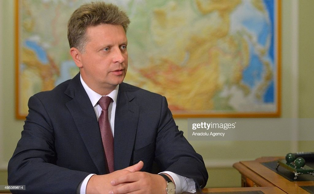 Russia's Transport Minister Maxim Sokolov speaks during a meeting with Russia's President Vladimir Putin (not seen) at Novo-Ogaryovo residence in Moscow, Russia on November 02, 2015. Maxim Sokolov heads a government commission on investigation into the A321 airbus crash in Egypt. Russian MetroJet Airbus A321 of Kogalymavia en route from Sharm-el-Sheikh to St. Petersburg crashed in the Sinai, Egypt on 31 October 2015, killing all 224 people on board.